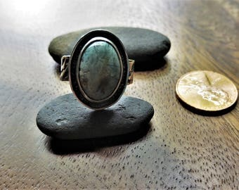 Sterling Silver brutalist Dragon Blood Jasper Ring Size 8.5