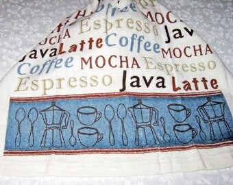 One Kitchen Crochet hanging Towel text, types of Coffee