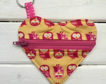 Heart Zipper Pouch Keychain- Ear Bud Holder- Ear Bud Keychain- Pink and Yellow Owls