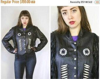 FLASH SALE 80s Beaded Leather Jacket / Fringed Western Black Leather Biker Jacket / Size XL Extra Large