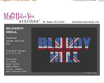 SALE KIT Bloody Hell Union Jack Counted Cross Stitch Kit