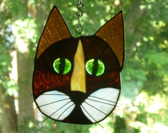 Cat Face Stained Glass Beautiful Browns and white Gorgeous green eyes