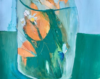 Teal Terrarium with Tiger lily, original oil painting on BFK  reeves rag