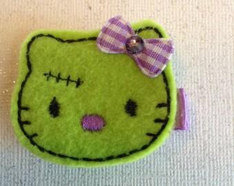 Embroidered Felt Halloween Green Monster Kitty, Halloween Hair Clips, Toddlers Hair Clips, Hair Bows, Green & Purple Monster (ITEM 15-630)