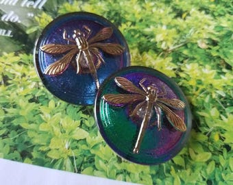 Vintage Style Button - 2  large beautiful Czech pressed glass dragonfly, blue and blue green iridescent, (c16)
