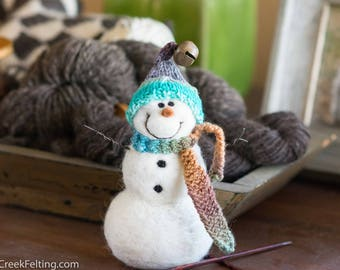 Needle Felt Snowman - Needle Felted Snowman - Christmas Snowman - Christmas Decoration - Christmas Decor -  Wool Snowman - Winter Décor -851