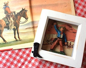 Howdy ~  Dinky Cowboy Themed Shadow Box ~ Mixed Media Assemblage