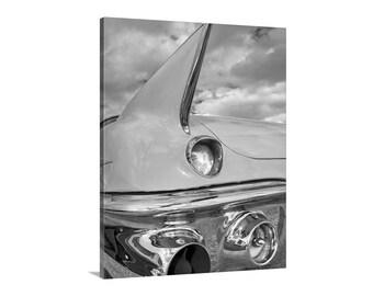Cadillac Car Art, Tail Fins, Car Photography, Black and White, MidCentury, Boyfriend Gift, Automotive Art, Vintage Cadillac, Wall Canvas Art