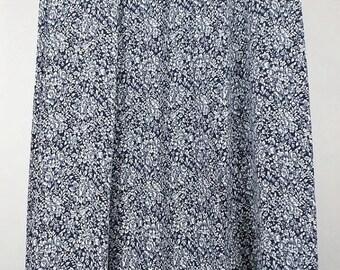 ON SALE Vintage Navy Blue White Floral Midi Skirt Misses 12 L Talbots