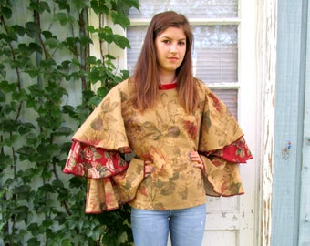 Upcycled Bell Sleeve Cabbage Rose Cotton Top// Large// Shabby Chic Floral Top// Ruffles// Bohemian Reconstructed Top// emmevielle