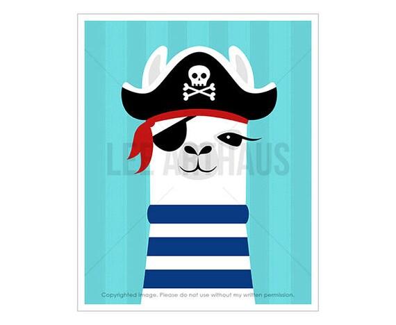 26J Llama Print - Pirate Llama Wall Art - Pirate Nursery Decor - Art for Boys Room - Pirate Theme - Modern Art for Children - Llama Decor