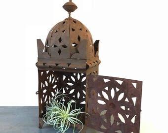 vintage metal candle lantern - large square hanging pendant lamp - rustic boho garden decor