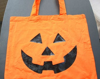 Pumpkin Face Tote Bag - Small Bag - Vinyl Letters - Orange - Jack-o-lantern Face