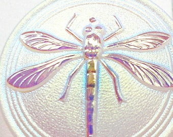 """XL Czech glass DRAGONFLY Button,, White with AB luster, 1 3/16"""", 31mm."""