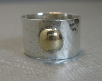 Distressed Sterling Silver Artisan Handcrafted Ring with Gold Filled Granule, Chunky Mixed Metal Solitaire Band with Gold Filled, size 6.5