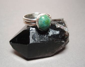 Chrysocolla - Hand Cut Gemstone and Sterling Silver Ring Size 7 and half