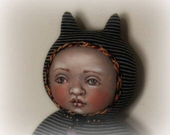 Stellacat OOAK cloth and clay doll