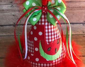 WATERMELON Birthday Hat,  Watermelon First Birthday, Personalize, 2nd Birthday Party hat, Watermelon Birthday Hat,  by Gingham Bunny