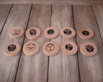 Funny Faces Make a Match memory game Montessori wooden tokens
