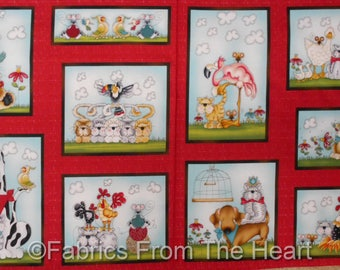 "No Fowl Play Dogs Flamingo Birds  BLocks  23"" Panel Henry Glass Cotton Fabric"