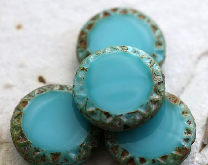 TURQUOISE SUN No. 2 .. NEW 4 Premium Picasso Czech Chunky Coin Beads 16mm (6131-4)
