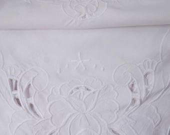 pretty cotton whitework rose tablecloth 30x30 inches
