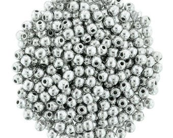 4mm Silver 27000, Round Beads, Fire polish Czech Glass, Sold 100 Piece Strand
