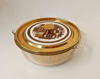 Georges Briard Brass and Glass Casserole, Mid Century Casserole, Brass and Tile Casserole, Glass Casserole