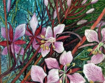 Alaskan Fireweed an original watercolor on canvas
