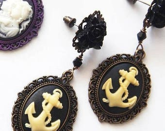 Anchor Dangle Earrings-Cameos Studs-Nautical Fashion-Ocean Posts-Rockabilly Style-Navy Fashion-Mermaid Chic-Sailor Trend-Fashion Jewelry