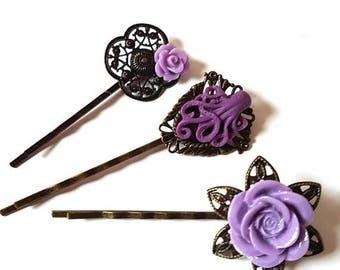 Octopus Bobby Pin Set of 3-Antique Brass-Kraken Hair Pins-Ocean Hair Slides-Fashion Accessory-Purple Floral-Cephalopod Fan-Teen Gift
