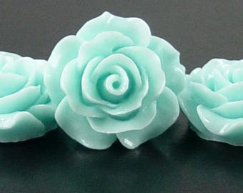 Cabochon Resin Flower 4 Resin Round Rose Flower Blue 20mm x 9mm (1019cab20m4-15)