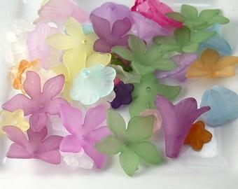 Grab Bag Acrylic Beads Lucite Flower Widows Orphans Findings Supplies (268grab1)