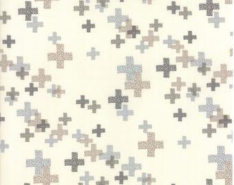 MODA Modern BG Background Colorbox Geometric Pluses Porcelain Dove Grey 1644 20 Yardage by Brigitte Heitland of Zen Chic