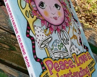 Adult Coloring Book, The Peace Love and Understanding Coloring Book, Singleton, hippie art
