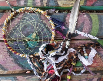 Boho Decor, Dreamcatcher, Dream Catcher, Hippie Decor, Shabby Decor, Hippie Spirit, Hippie home, Hippie Decor, Recycled fabric, freespirit