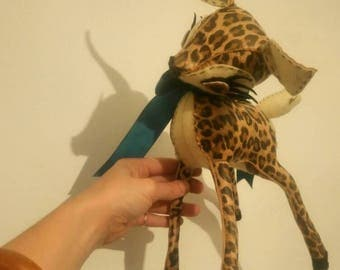 Lou Fawn - Leopard Print Leather & Cream Felt Hand Stitched Deer - Limited Edition