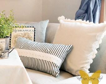 Crochet Pillow Cover, Handmade Crochet Trim Pillow, Farmhouse Style