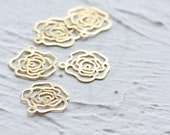 40 Pieces Raw Brass Flower Charm - Rose 13x14mm (3900C-D-511)