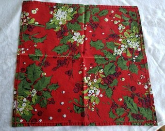 Set of Twelve (12) Christmas Napkins, Handmade from Vintage Fabric, Bold Red with Holly