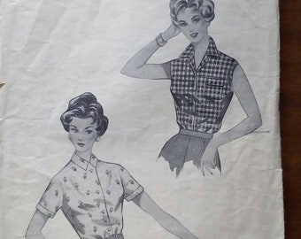 """1950s Blouse - 38"""" Bust - Blackmore 9108 - Vintage Sewing Pattern"""