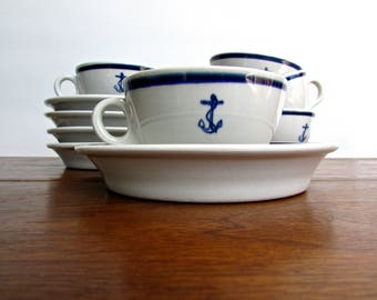 Caribe Puerto Rico Vintage-Classic Porcelain Tea Cup/Saucer in Cobalt & White w/ Anchor Motif, 5 Available