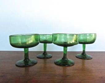 Oaxacan Free-Hand Spun Blown-Glass Champagne Coupes in Summer-Green, 2 Sets of 4 MCM Mexican Handmade Glass
