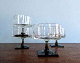 Georg Jensen Design for Rosenthal Crystal 'Linear-Smoke' Stemware Collection, 1962, Set of 4 Champagne Glass