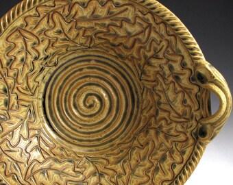 Handmade Stoneware Pottery Basket Bowl Carved Golden Ash Oak Leaf Bowl