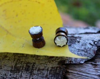 Fake gauge earrings ,small ,Organic ,wood and shell ,post Earrings, hand carved,tribal style,organic