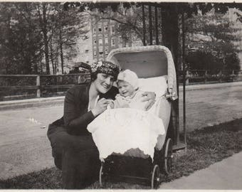 Original Vintage Photograph Snaphots Woman by Baby in Wicker Buggy Stroller 1910s