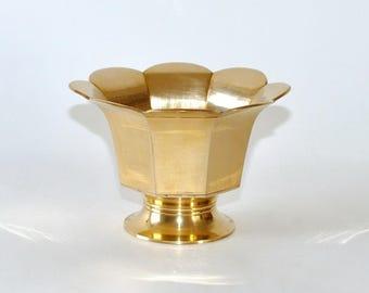 Vintage Brass Paneled Pedestal Vase Planter Jardinière
