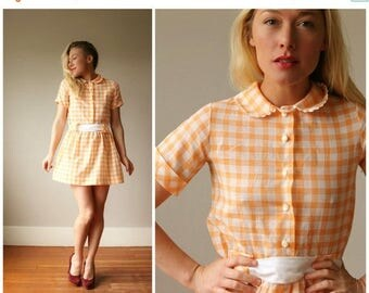 ON SALE 1960s Sherbert Plaid Dress~Size Extra Small or Girls Size 10/12