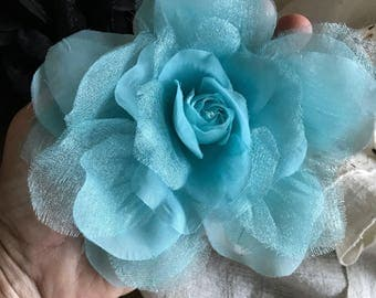 SILK ROSA , Rose Flower, Aqua Blue  /  SR - 15